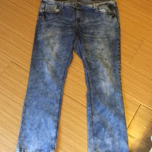 Plus size 20w acid washed jeans by Ariya Jeans.